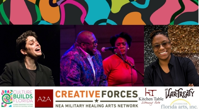 Creative Forces Open Mic with logos